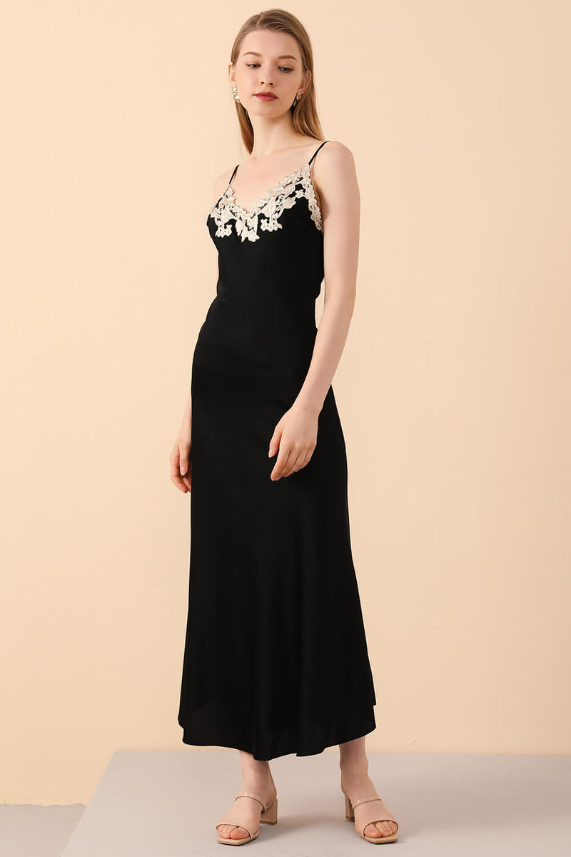 Black Silk Nightgown with Embroidered Motifs