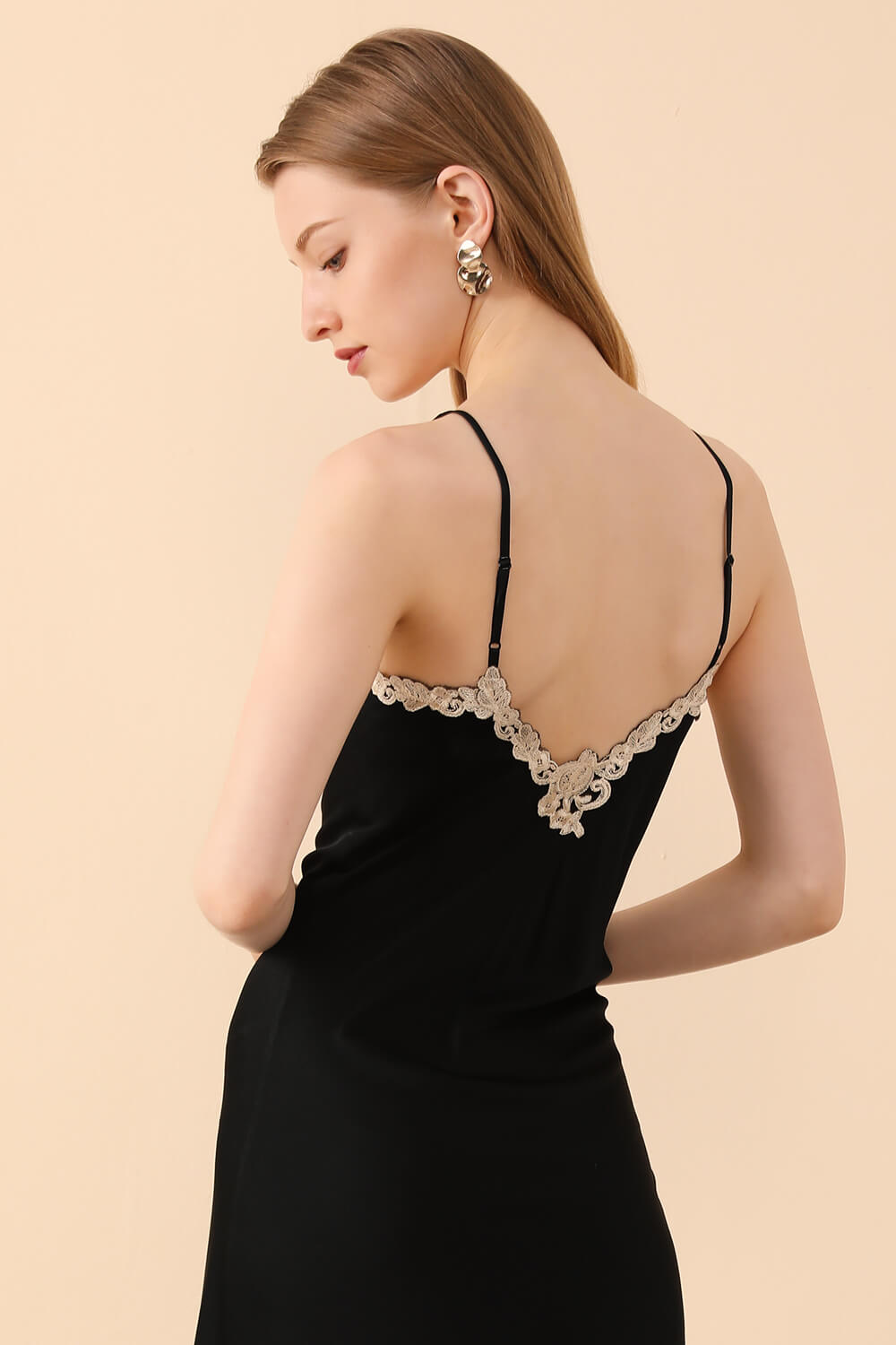 Black Silk Nightgown with Embroidered Motifs - BASK ™