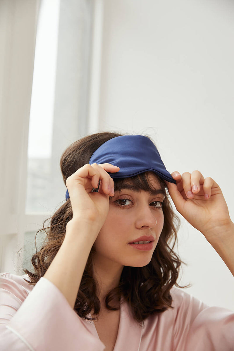 Silk Sleep Mask - Navy Blue