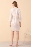 Silk PJs Shirt Dress in White
