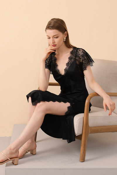 Black Silk Sleepwear with Lace Trims