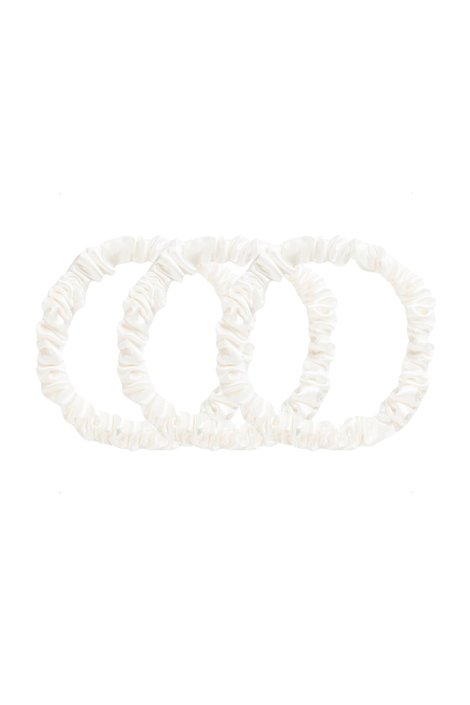 SMALL Silk Hair Ties - Pearl White