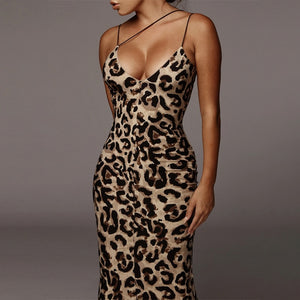 Leopard Print Sleeveless V-Neck Sexy Midi Dress