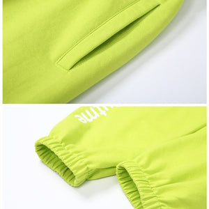 Sweatpants Letter Print Neon Green High Waist Jogger