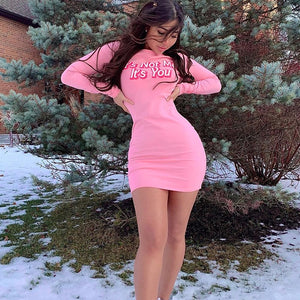 Letters Print Long Sleeve Bodycon Sexy Pink Mini Dress