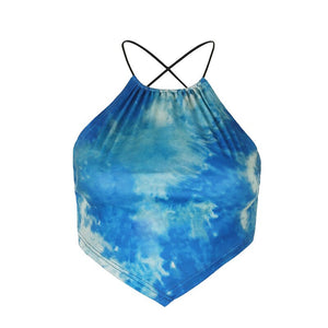 Tie Dye Backless Bandage Crop Tops