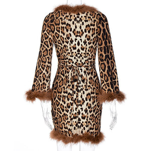 Leopard Long Sleeve Fur Patchwork Wrapped Bandage Sexy Mini Dress