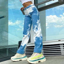 Load image into Gallery viewer, High Waist Tie Dye Vintage Flare Denim Jeans