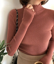 Load image into Gallery viewer, Turtleneck Ruched Women Sweater