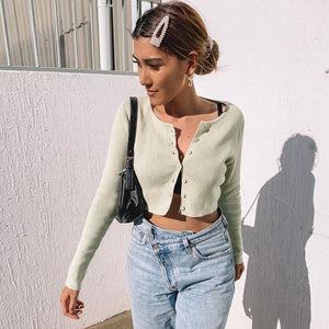 Long Sleeve Open Front Button Up Knitting Cardigan Crop Top