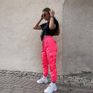 Cargo Pants Neon Pink Sweatpants
