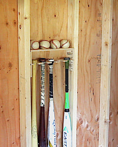 Baseball Bat Holder with Baseball Shelf