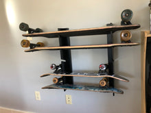 Load image into Gallery viewer, Skateboard Rack (Holds 5 mid size boards)  Garage, bedroom, man-cave, basement