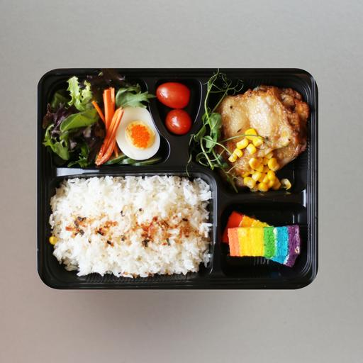 Baked Teriyaki Chicken Served With Steamed Rice Bento Set