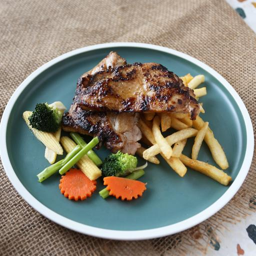 Baked Teriyaki Chicken with Fries