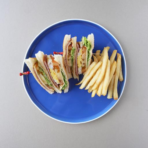 Club Sandwiches with Fries