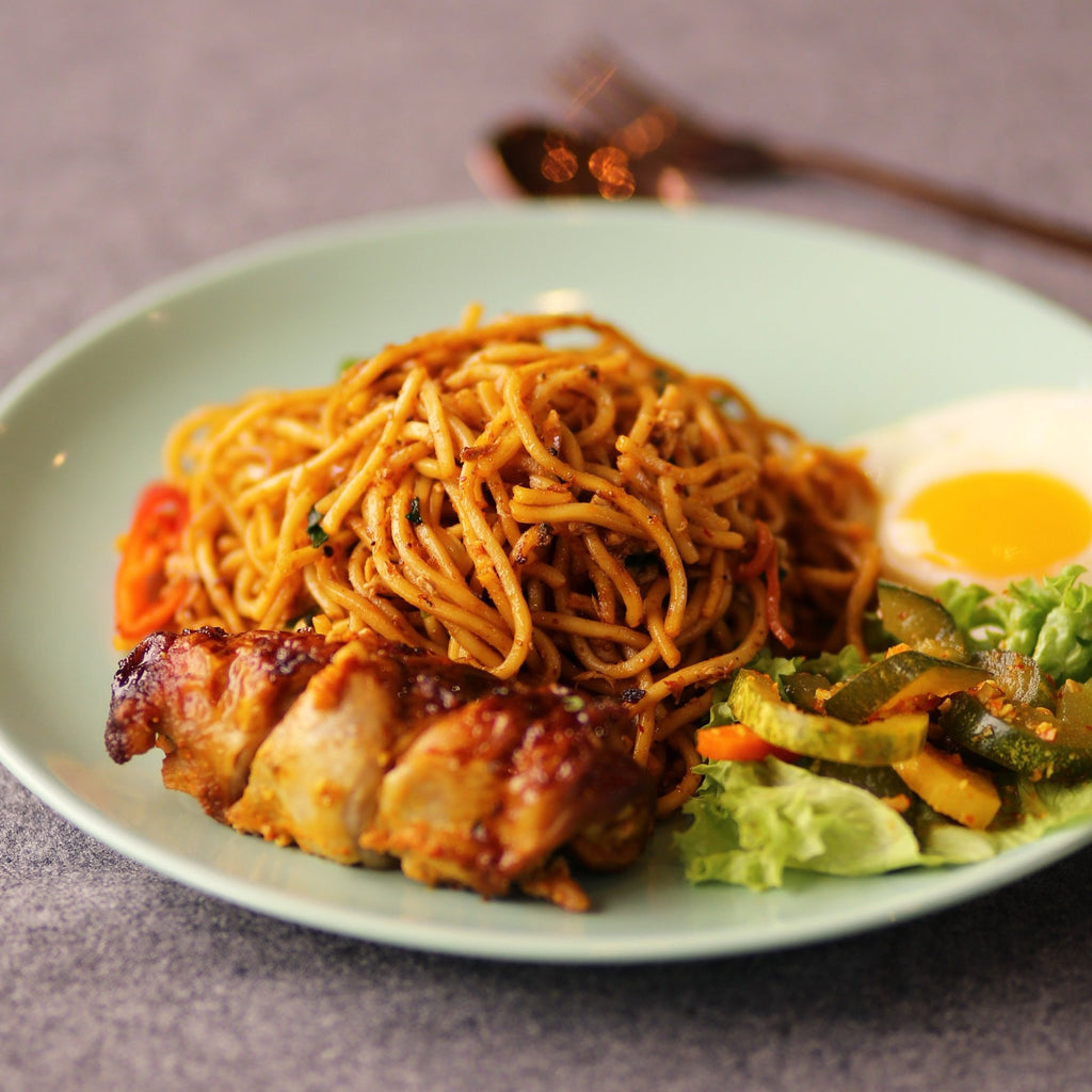 Traditional Chicken Fried Noodles Indonesian Style (Mee Goreng Ayam)