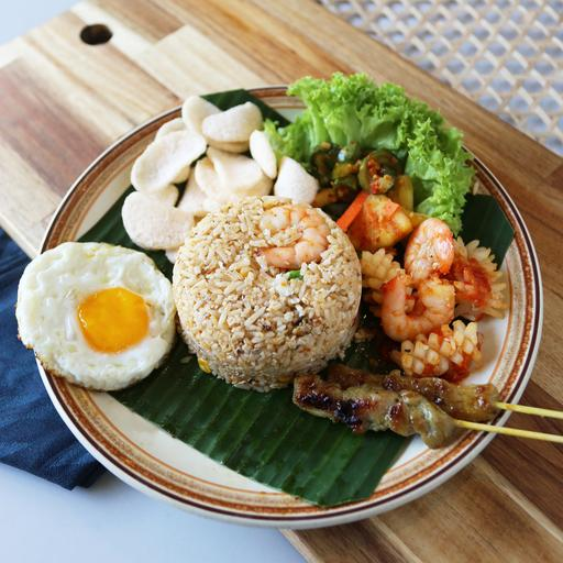 Traditional Seafood Fried Rice Indonesian Style (Nasi Goreng Makanan Laut)