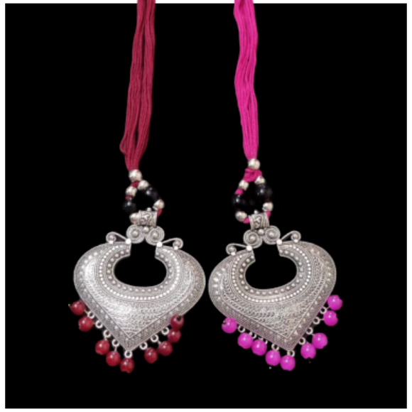 Silver Carving Oxidized Metal Necklace - Set of 2_bongfooodie_Fashion_Konishtha