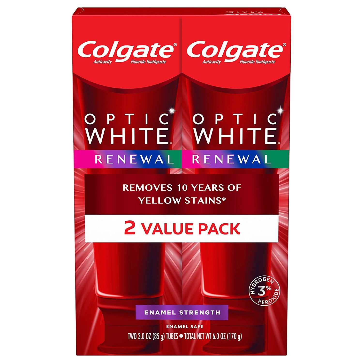 Colgate Optic White Renewal High Impact White Toothpaste, 3 oz (Pack of 2)