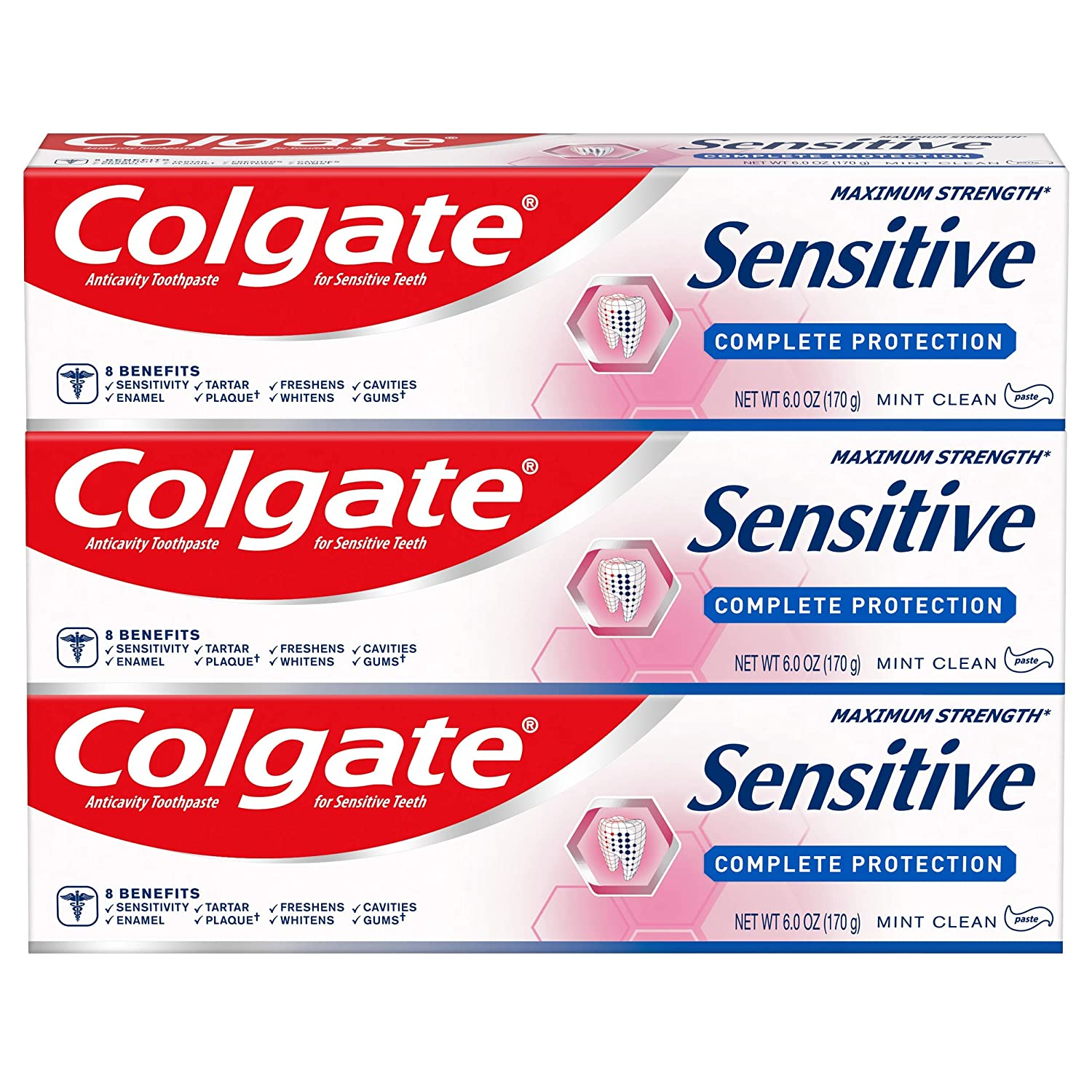 Colgate Sensitive Toothpaste Complete Protection, Mint - 6 oz (Pack of 3)