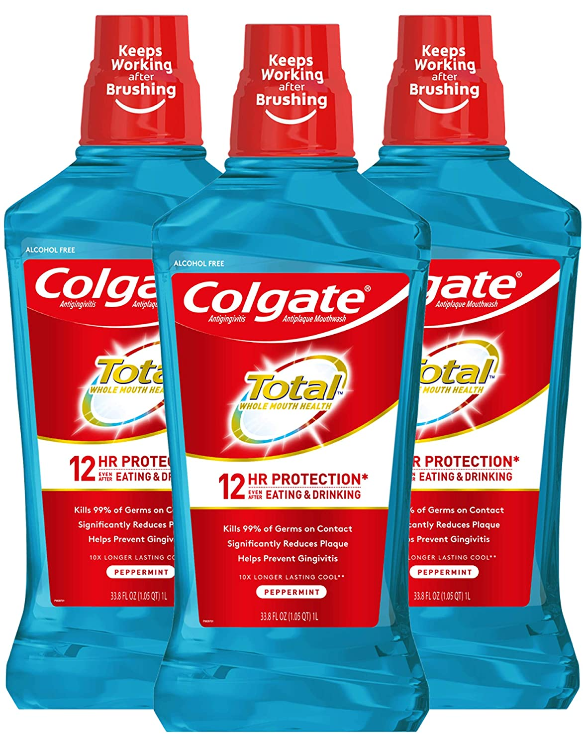 Colgate Total Alcohol Free Mouthwash 1L - 3 count