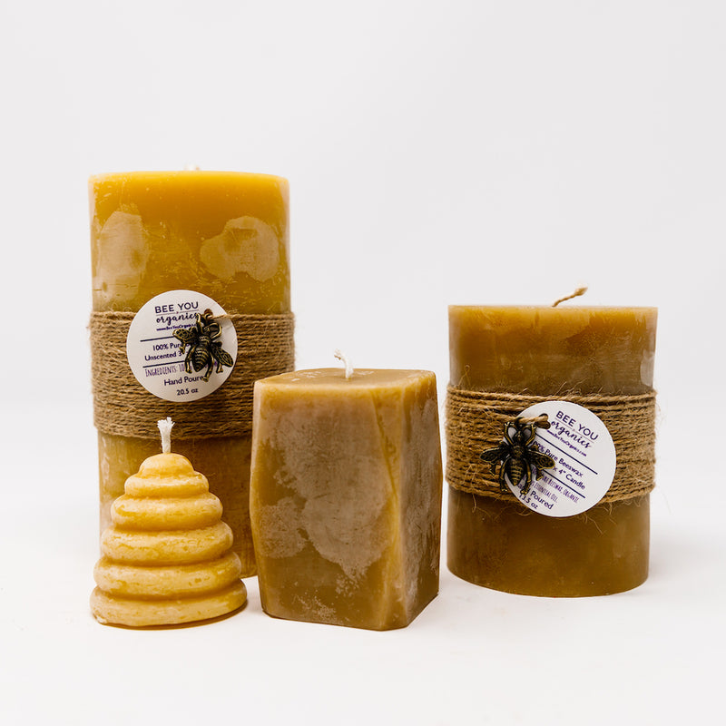 100% Pure Beeswax Pillar Candles