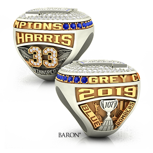 Shoulders of the Official Winnipeg Blue Bombers 2019-107th Grey Cup Championship Ring Collection by Baron. showing Harris, 33