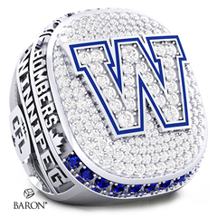Angle view of Deluxe Fan Ring by Baron is from The Official Winnipeg Blue Bombers Championship Ring Collection
