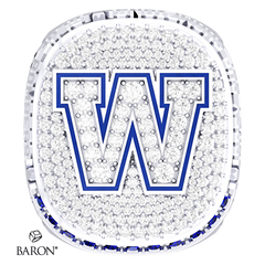 Front view of Deluxe Fan Ring by Baron is from The Official Winnipeg Blue Bombers Championship Ring Collection