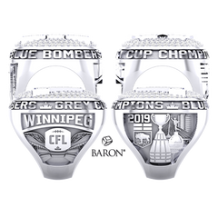 Shoulder views of Fan Ring by Baron is from the The Official Winnipeg Blue Bombers Championship Ring Collection