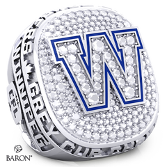 Angle view of Paperweight Ring by Baron is from the The Official Winnipeg Blue Bombers Championship Ring Collection