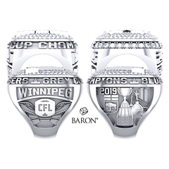 Shoulder views of Paperweight Ring by Baron is from the The Official Winnipeg Blue Bombers Championship Ring Collection