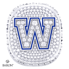 Front view of Paperweight Ring by Baron is from the The Official Winnipeg Blue Bombers Championship Ring Collection