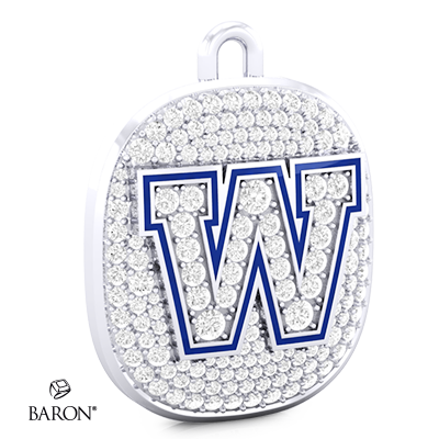 Angle view of Ring Top Pendant by Baron is from the The Official Winnipeg Blue Bombers Championship Ring Collection