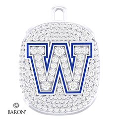 Front view of Ring Top Pendant by Baron is from the The Official Winnipeg Blue Bombers Championship Ring Collection