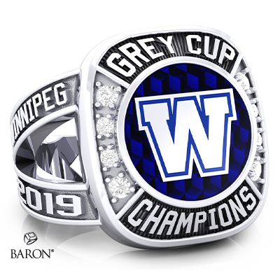 Angle view of Renown Ring by Baron is from the The Official Winnipeg Blue Bombers Championship Ring Collection