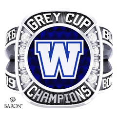 Front view of Renown Ring by Baron is from the The Official Winnipeg Blue Bombers Championship Ring Collection