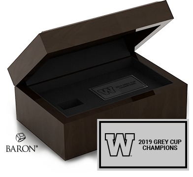 Angle view of Wood Ring Box and plate example by Baron is from the The Official Winnipeg Blue Bombers Championship Ring Collection