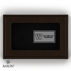 Top view of Wood Ring Box and plate example by Baron is from the The Official Winnipeg Blue Bombers Championship Ring Collection