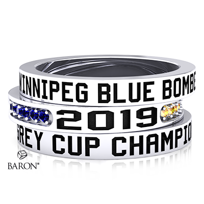 Angle view of Stackable Bands by Baron is from the The Official Winnipeg Blue Bombers Championship Ring Collection