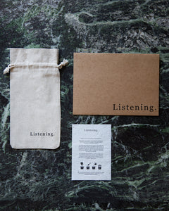Sustainable and recyclable packaging for Listening Store's iPhone cases and products
