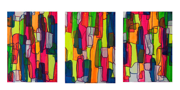 Neon Escape Triptych