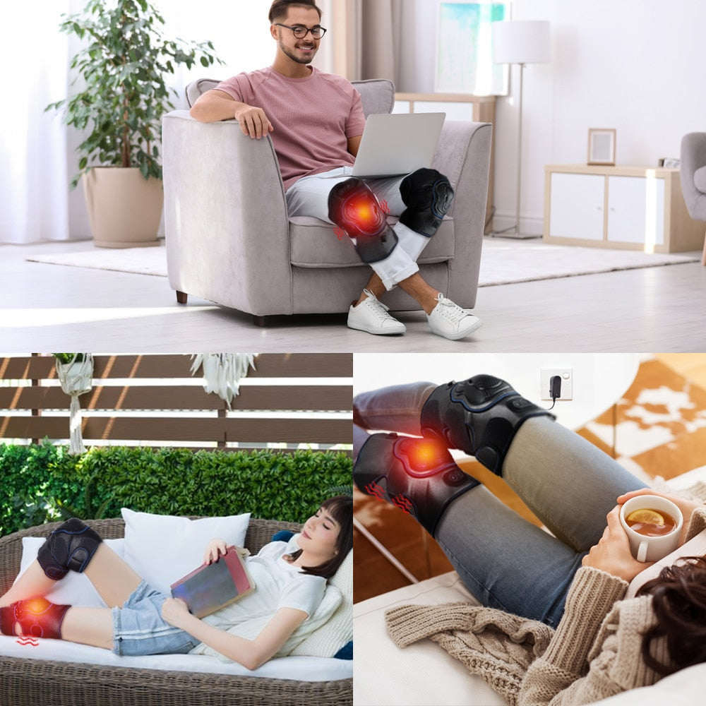 Knee Brace Support Wrap Massager Infrared Heating Hot Therapy Arthritis Cramps Pain Relief Injury Recovery Knee Rehabilitation - COOLCrown Store