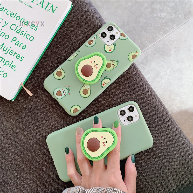 3D Luxury Cute Cartoon Fruit Avocado Soft Silicone Phone Case for Iphone - COOLCrown Store