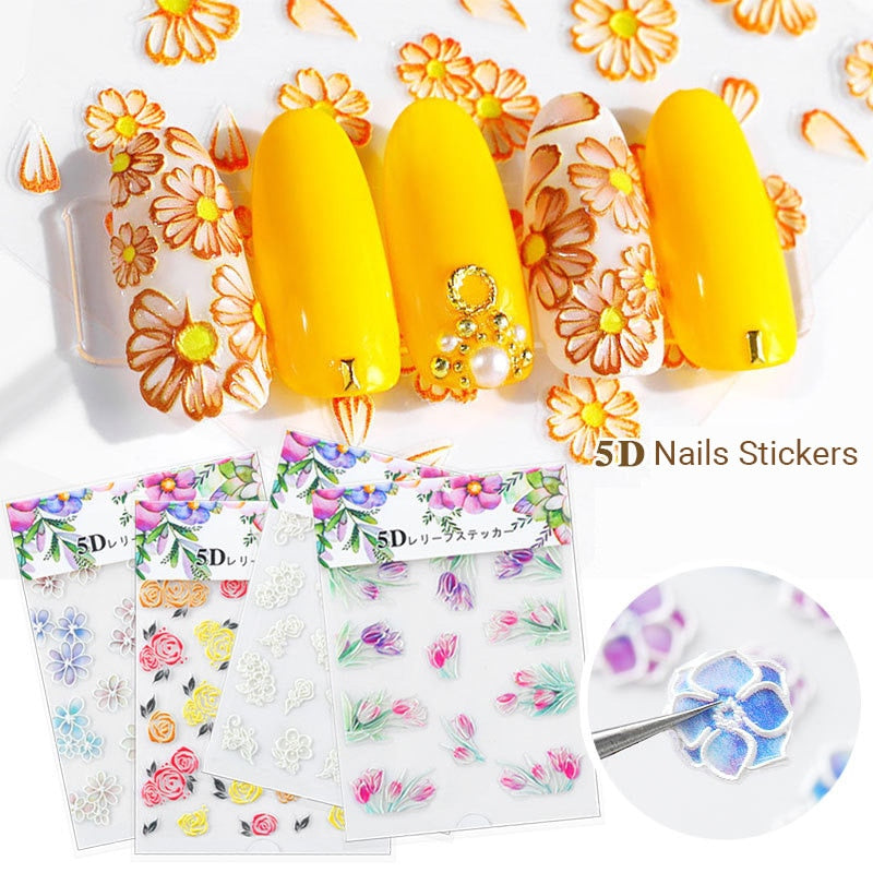 3D Embossed Flower Leaf Nail Sticker Decals - COOLCrown Store