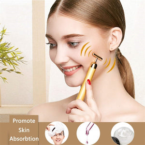 24K Gold Roller Vibrating Facial Massager Slimming Facial Skin Beauty - COOLCrown Store