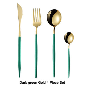 4Pcs Black Gold Cutlery Set Stainless Steel Dinnerware Silverware Flatware Set Dinner - COOLCrown Store