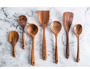 7pcs/set Teak Natural Wood Tableware Cooking SpooN - COOLCrown Store
