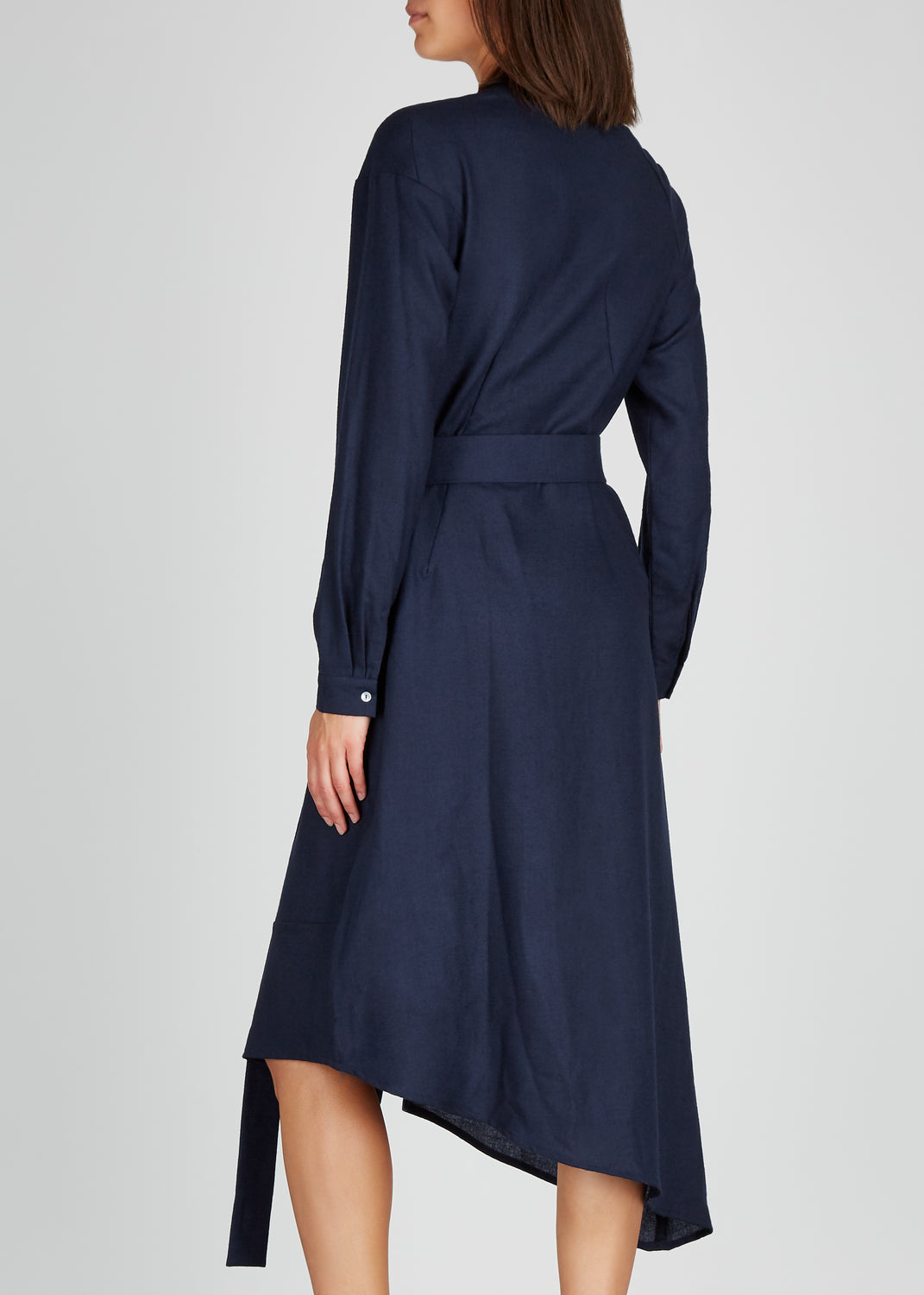 AWAYTOMARS X Woolmark navy wool shirt dress